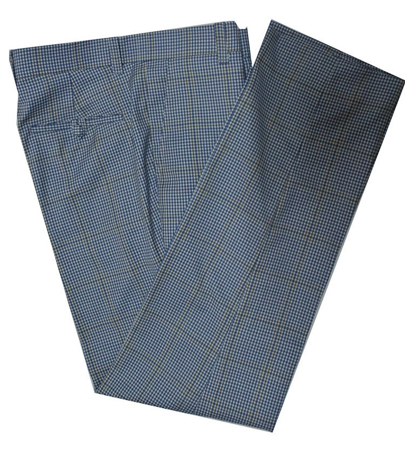 60s – 70s Mens Bell Bottom Jeans, Flares, Disco Pants Shepherds Check Sky Blue Trouser $102.46 AT vintagedancer.com