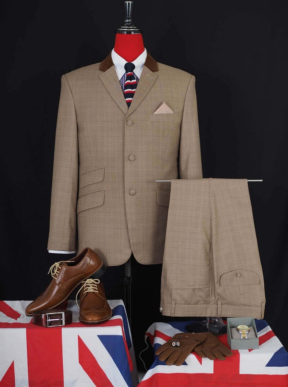 Men's Vintage Style Suits, Classic Suits prince of wales check brown mod suit60s style men suit $312.97 AT vintagedancer.com