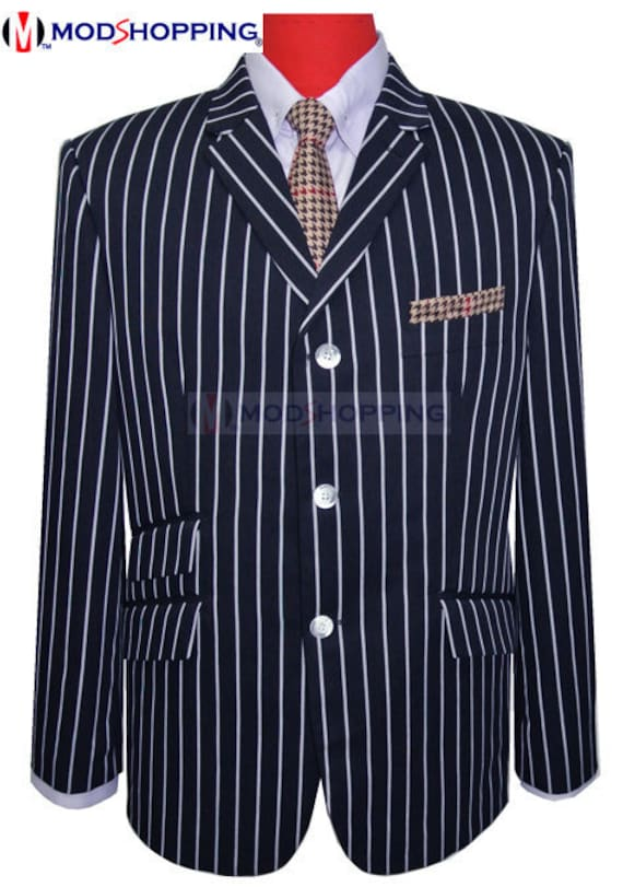 60s 70s Men's Jackets & Sweaters Boating blazer | Navy Blue Stripe Boating Blazer $162.63 AT vintagedancer.com