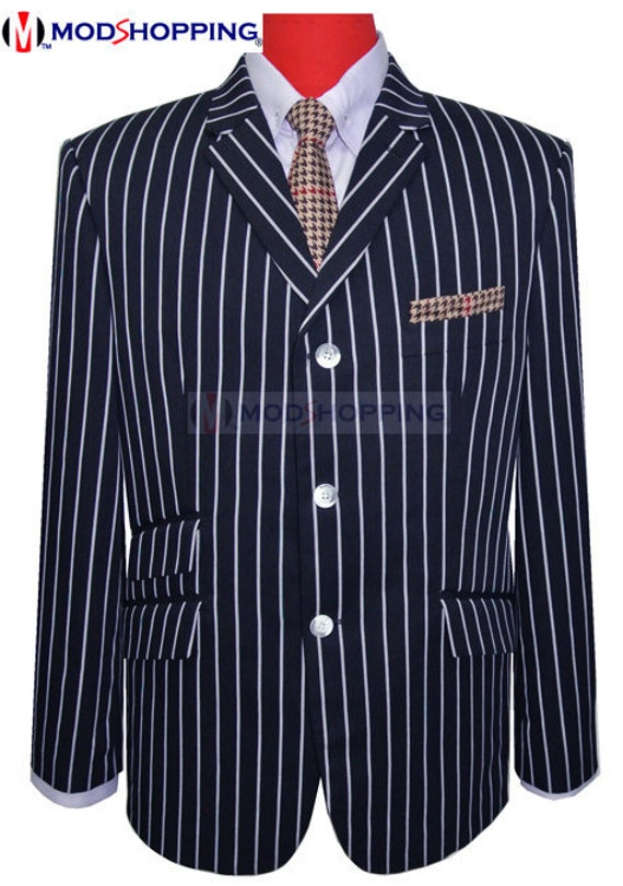 1960s Mens Suits | 70s Mens Disco Suits Boating blazer | Navy Blue Stripe Boating Blazer $162.63 AT vintagedancer.com