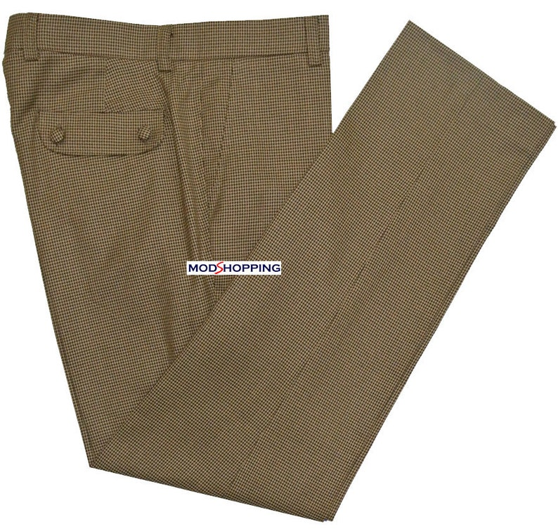 1960s -1970s Men's Clothing Mod Retro Brown Dog-Tooth Classic Trouser $97.54 AT vintagedancer.com