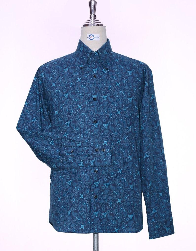 1960s Mens Shirts | 60s Mod Shirts, Hippie Shirts Paisley Shirt | 60s Style Navy Blue Paisley Men Shirt $84.67 AT vintagedancer.com