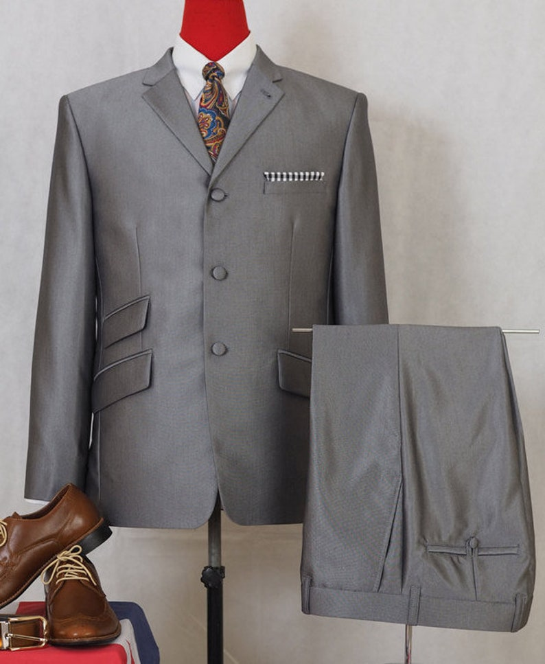 Men's Vintage Style Suits, Classic Suits Mod Clothing | Mod Fashion Tailored 60s Silver Tonic Suit For Men $290.54 AT vintagedancer.com