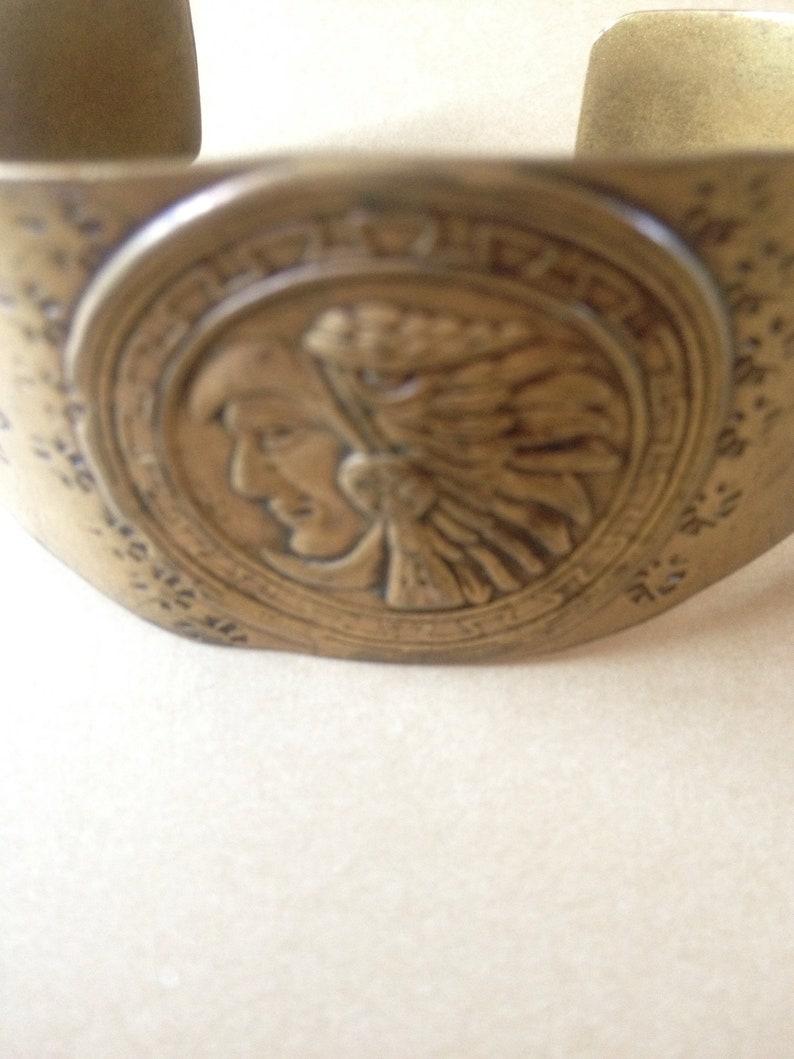 Native Tribal Headdress Brass Cuff Bracelet