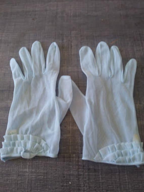Sheer Baby Blue Gloves, Louis Fischl, vintage glov