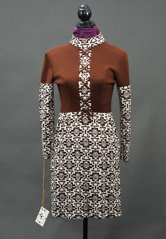 1960's Gay Gibson Vintage Brown and White Dress