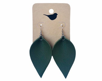 Olive Green Leaf Earrings, Green Genuine Leather Earrings for Fall, Green Leather Earrings, Fall Leaf Earrings