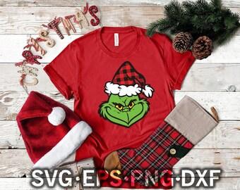 Bufallo plaid Grinch svg , dxf cut files for silhouette studio , christmas design grinch , clipart , vector , grinch face , clip art cut png