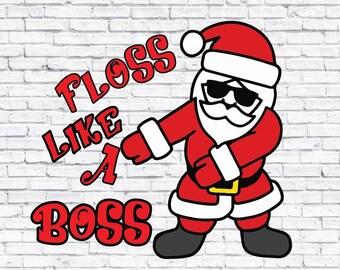 Santa Floss like a Boss svg , Santa svg , Santa claus dxf , Santa hat ,Santa print , Santa cricut , silhouette studio , christmas design png