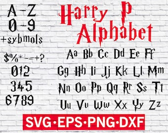 Harry P font , Wizard font svg , For Silhouette EPS png jpg files. svg dxf for Silhouette Cameo or Cricut , magic font , magic alphabet svg