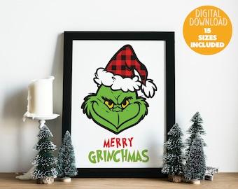 Merry Grinchmas Wall art printable , Digital download file , The Grinch face , Bufallo plaid xmas , Merry Christmas , Holiday , Santa hat