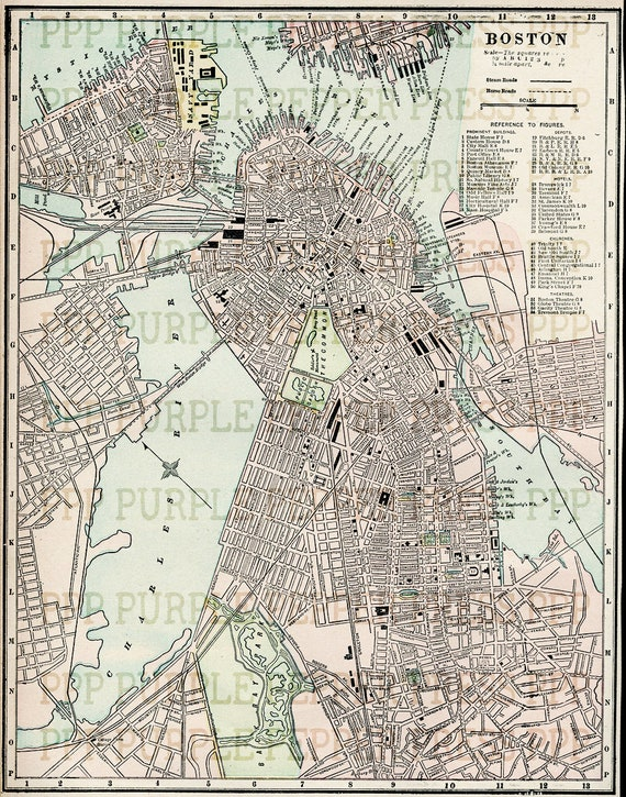 Antique Boston Map 1898