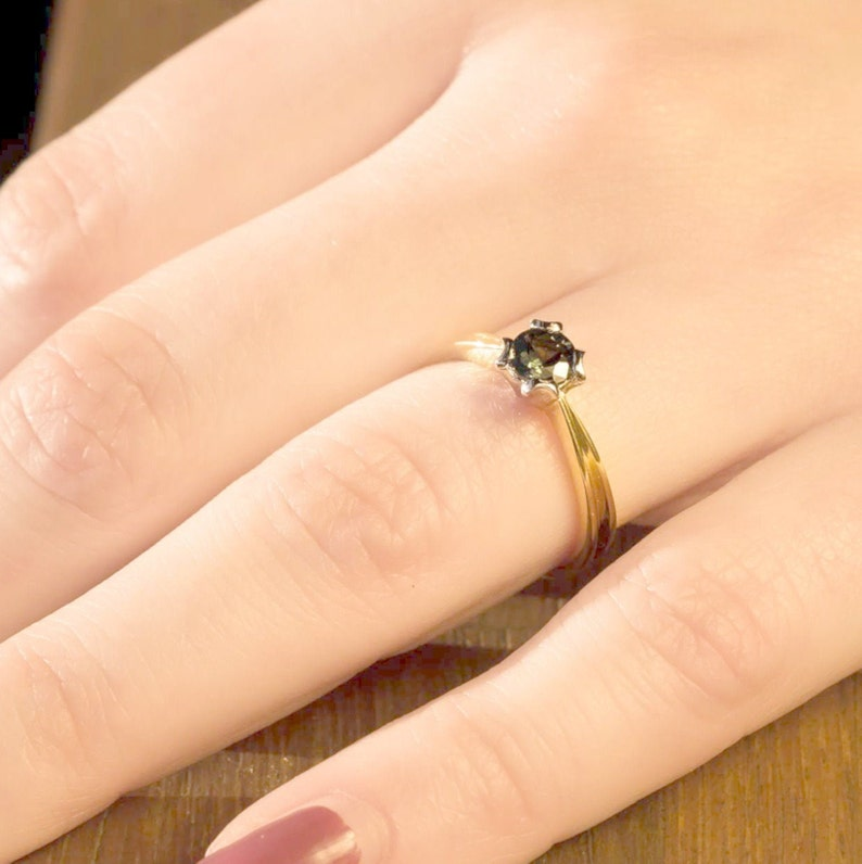 Natural Australian Parti Sapphire Engagement ring in two tone image 0