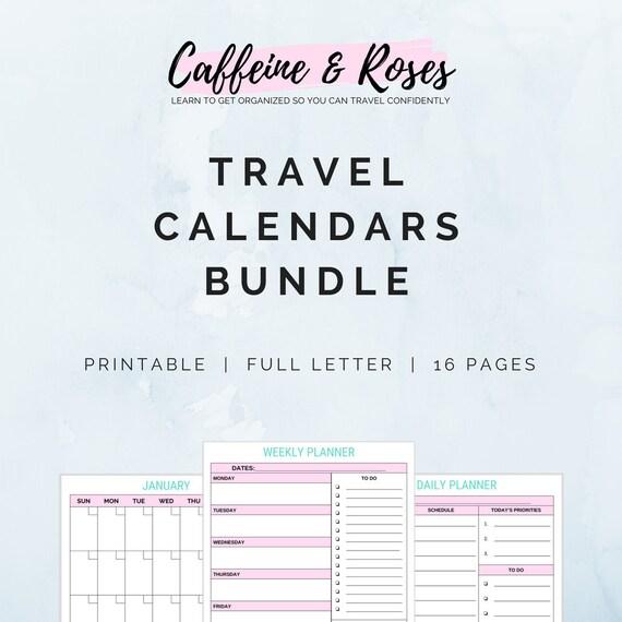 travel calendar bundle vacation planner travel planner etsy