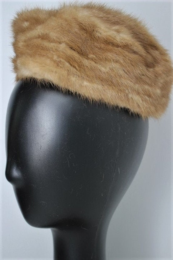 Vintage 1950s 60s Blonde Mink Pill Box Hat