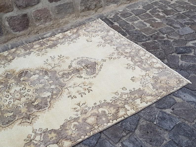 6.8 x 3.8  ft Turkish rug Oushak Rug 209 X 116 cm  Number : 8223 Muted Rug Neutral Rug Vintage Rug