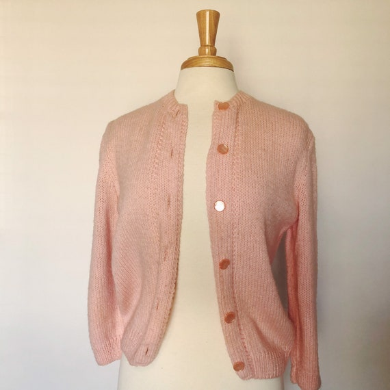 Hand knit Vintage Pink Cardigan Sweater - 50's sty