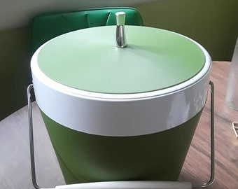 Vintage Avocado Green 1970's Ice Bucket- Made by West End