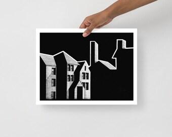 Shadowy Buildings Art Print