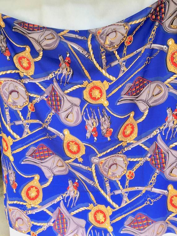 "Bright Blue Equestrian Print Challis Scarf 42"" Sq… - image 1"