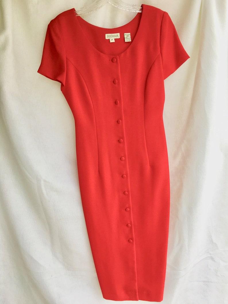 4e09a81e4a6 90 s Ann Taylor Red Cocktail Column Dress Size 6P