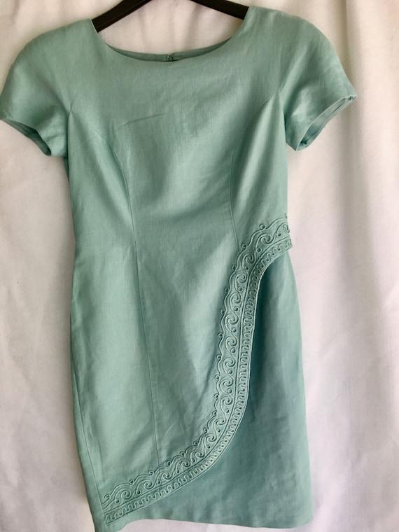 Vintage 90/'s Wrap front pale seafoam  green sheath dress with soutache braid trim by Donna Morgan for Maggy