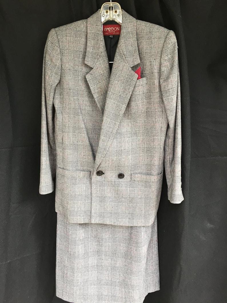 14b90e904f4 Vintage Black Glen Plaid Suit by Sasson-Size Petite 2-3