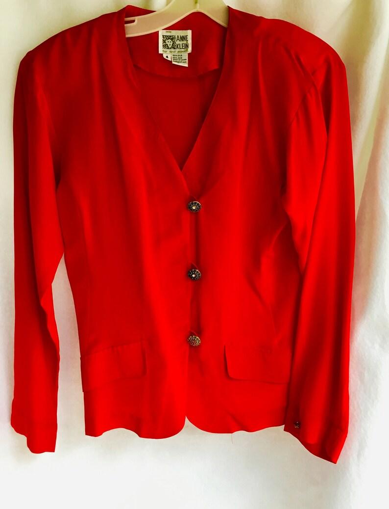 ce3ef41cafd Vintage Anne Klein Red Silk Blouse Size 4