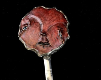 OOAK Hand mirror, red face, recycled materials