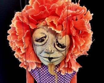Edith, OOAK bearded lady marionette