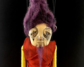 Lily, OOAK bearded lady marionette