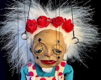 Birdie, OOAK bearded lady marionette