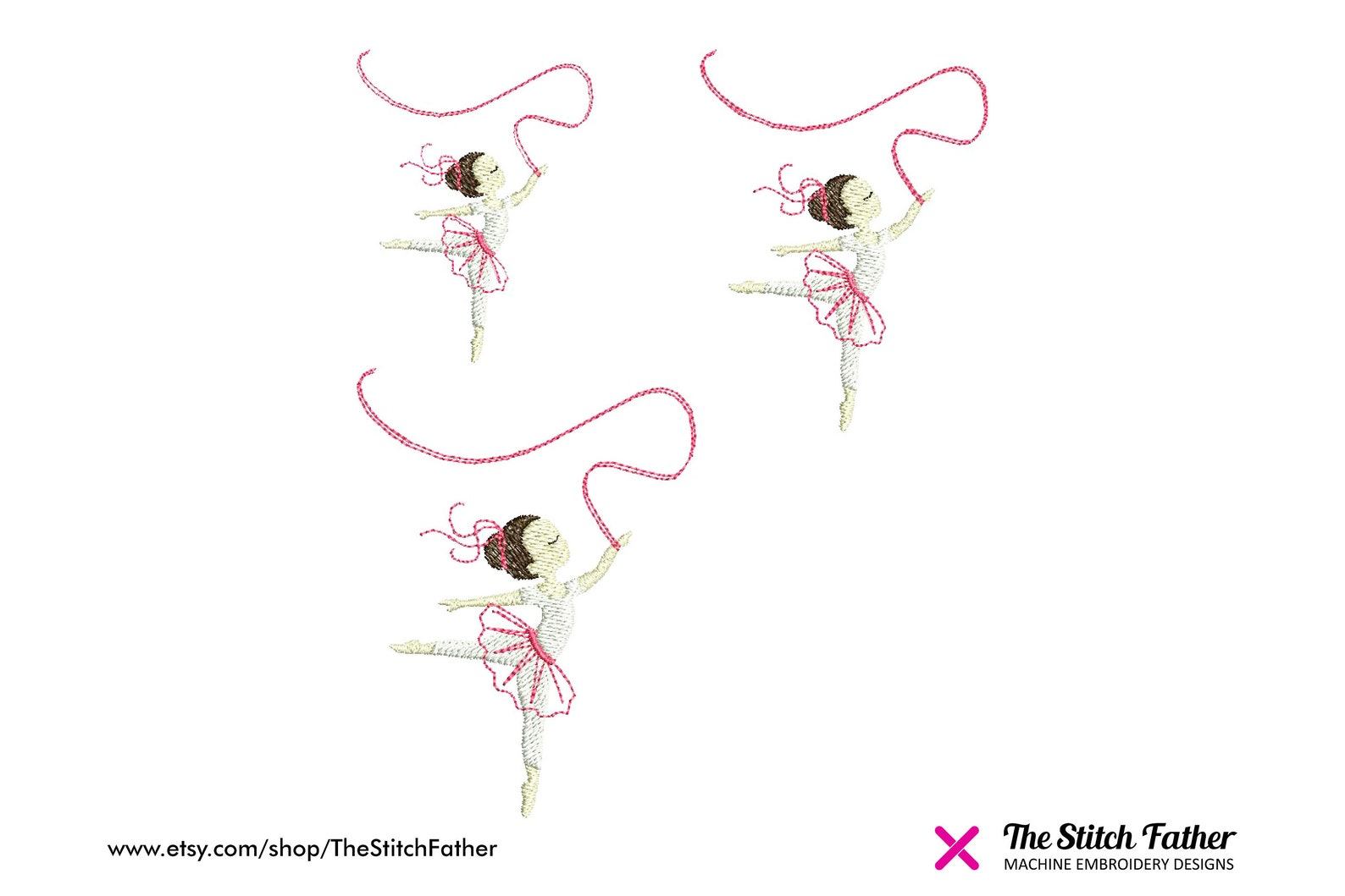 mini dancing set machine embroidery design – ballerina pointe dancers, gymnasts, ballet shoes – girl dance gym embroidery - inst