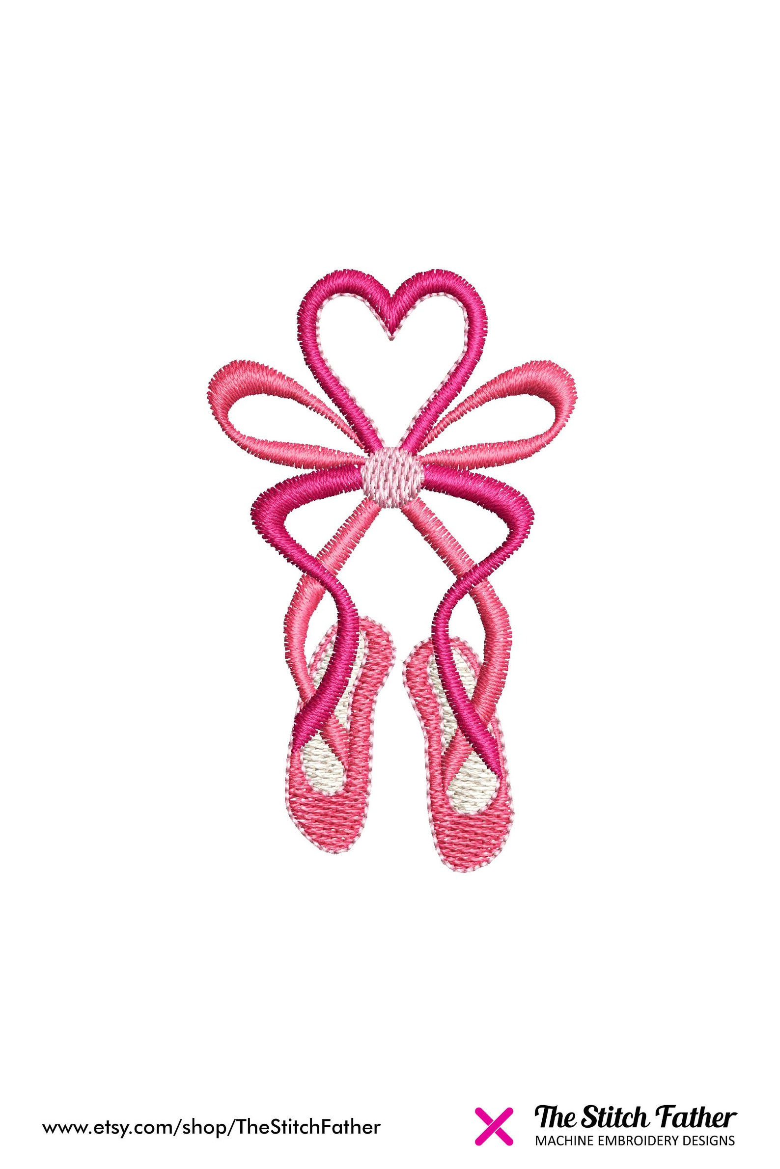 mini ballet shoes ribbon embroidery design – heart bow ballerina pointe dancing shoes ballet tutu – girl dance embroidery - inst
