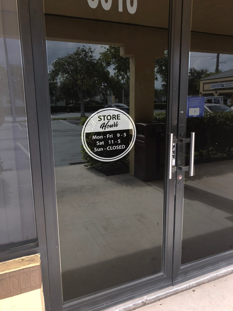 Custom business hours vinyl decal store hours decal business hours window decal