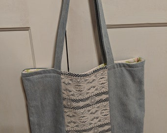 Denim and Lace Tote