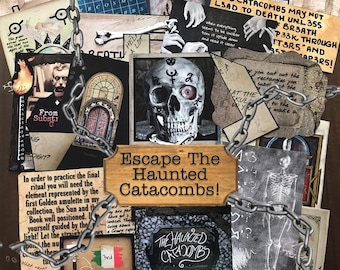 Halloween Escape Room Game DIY Printable Game Kit The Haunted Catacombs | Printable Escape Room Kit | DIY Escape Room | Printable Party Game
