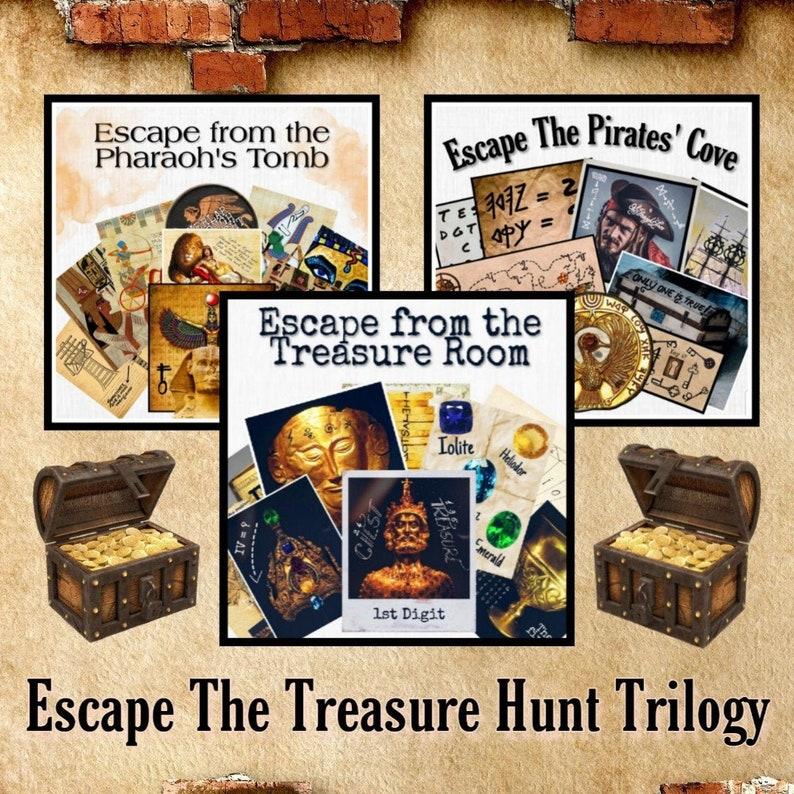 photograph regarding Printable Escape Room titled Escape The Treasure Hunt - Trilogy Printable Escape House Deal