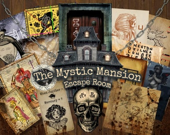 Escape Room Game DIY Printable Game Kit The Mystic Mansion | Printable Escape Room Kit | DIY Escape Room | Printable Family Party Games