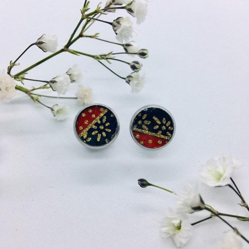 geometric pattern earrings sakura earring Japanese style stud earrings washi paper earrings origami paper earrings japanese earrings