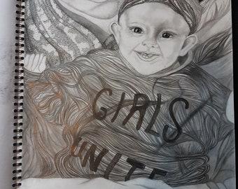 Custom made hand drawn portraits