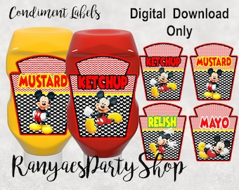 Hot Diggity Dog Minnie Mouse bowtique party Mayo /& relish BottlesMickey Mouse Party Decorketchup mustard condiments Mustard Ketchup
