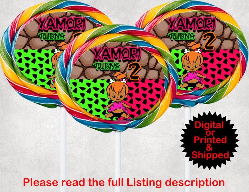 Party Decor Party Supplies Pebbles Party Item Inspired African American Pebbles Lollipop Labels Pebbles Favor Item