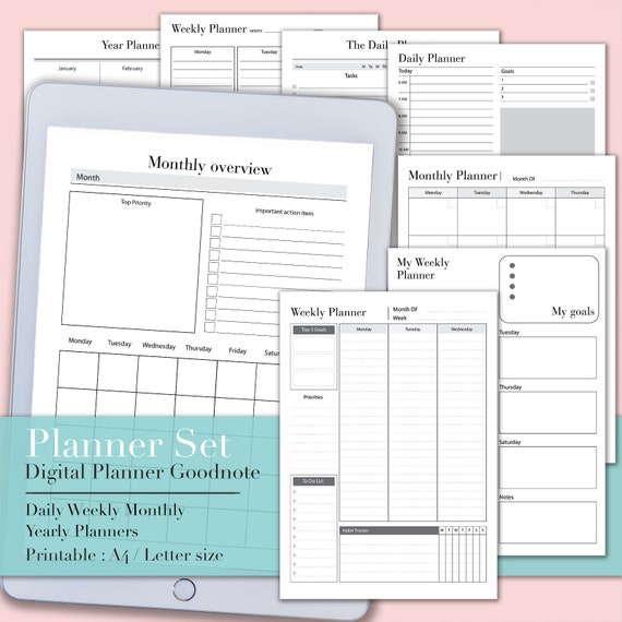 image regarding Printable Student Planner Download titled Electronic planner Electronic obtain Planner printable, Pupil planner, Goodnotes planner, instructional planner, regular monthly planner, everyday planner