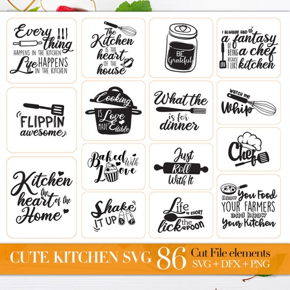 Svg Bundle Of Kitchen Svg Kitchen Quotes Svg Files Sayings Etsy