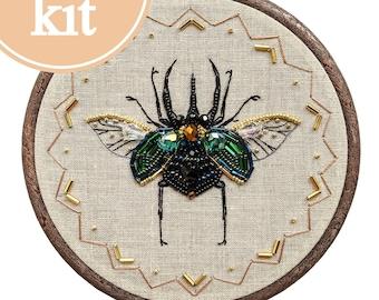 Scarab beetle embroidery, egyptian scarab, insect embroidery, bug embroidery, bead embroidery kit, modern embroidery, green scarab hoop art
