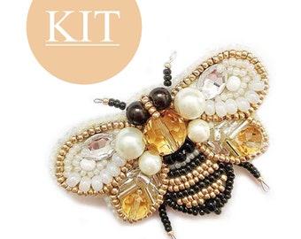 bee jewelry kit, handmade brooch kit, beaded bee kit, beaded brooch, bead embroidery kit, diy brooch making, beading tutorials and patterns