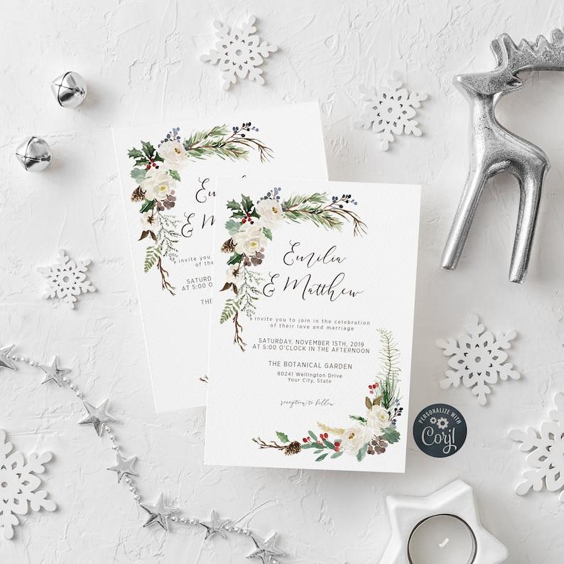 EDITABLE FILE Christmas Wedding Invitation Winter Greenery image 0