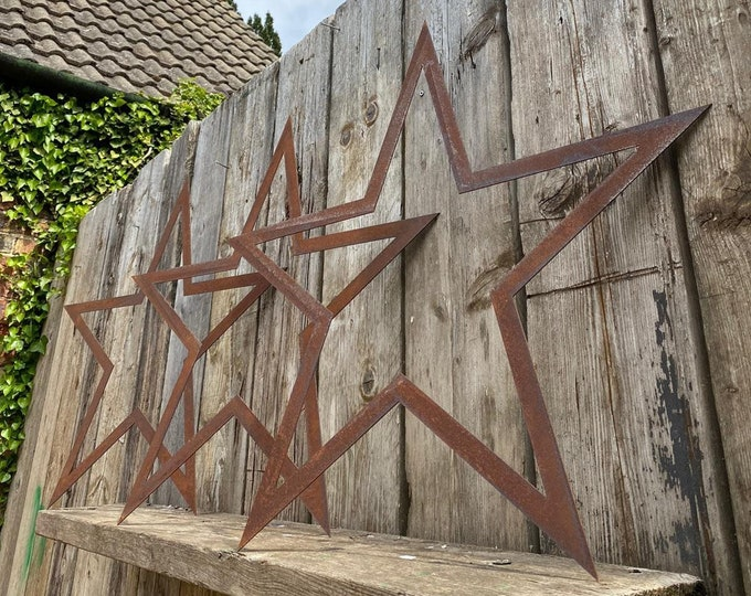 SPECIAL OFFER , 3 Big Rusty Metal barn Christmas Stars , wall or fence  Christmas decorations , rustic Christmas decor , shabby chic decor