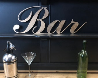 GOLD METAL BAR sign , cocktail bar decor , drinks cabinet sign , gold lettering , home bar decor